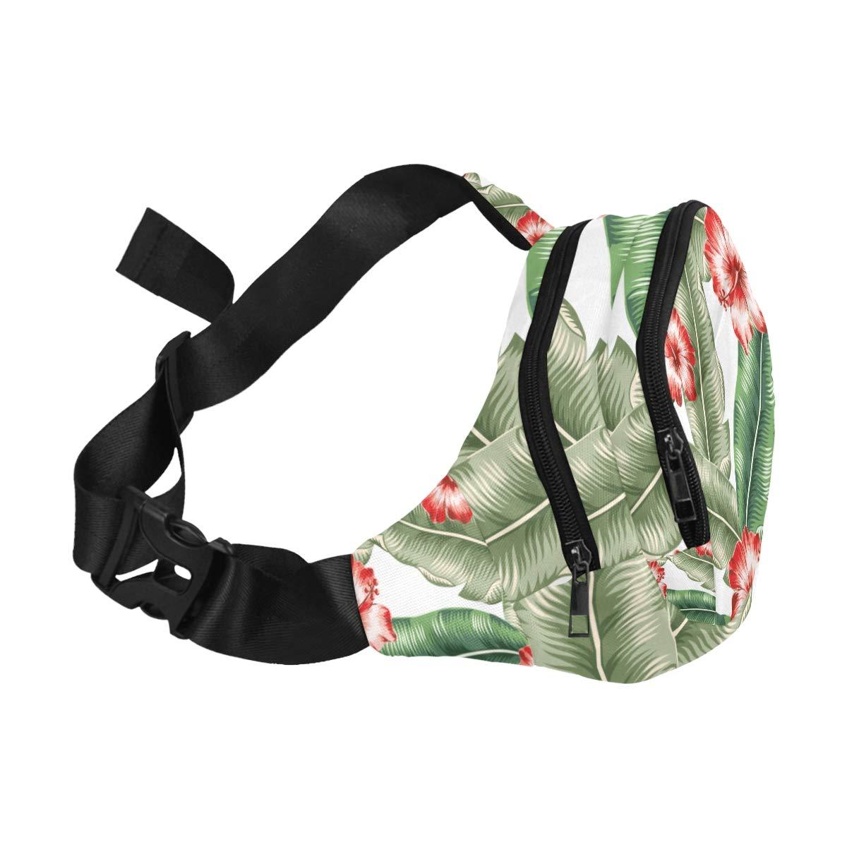 Banana Leaves And Golden Palm Leaves Fenny Packs Waist Bags Adjustable Belt Waterproof Nylon Travel Running Sport Vacation Party For Men Women Boys Girls Kids