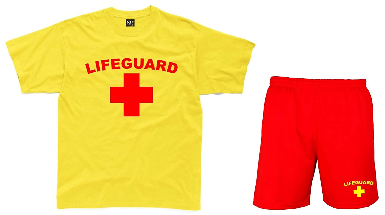 Salvavidas para Hombre Amarillo T-Camiseta de Manga Corta y Rojo ...