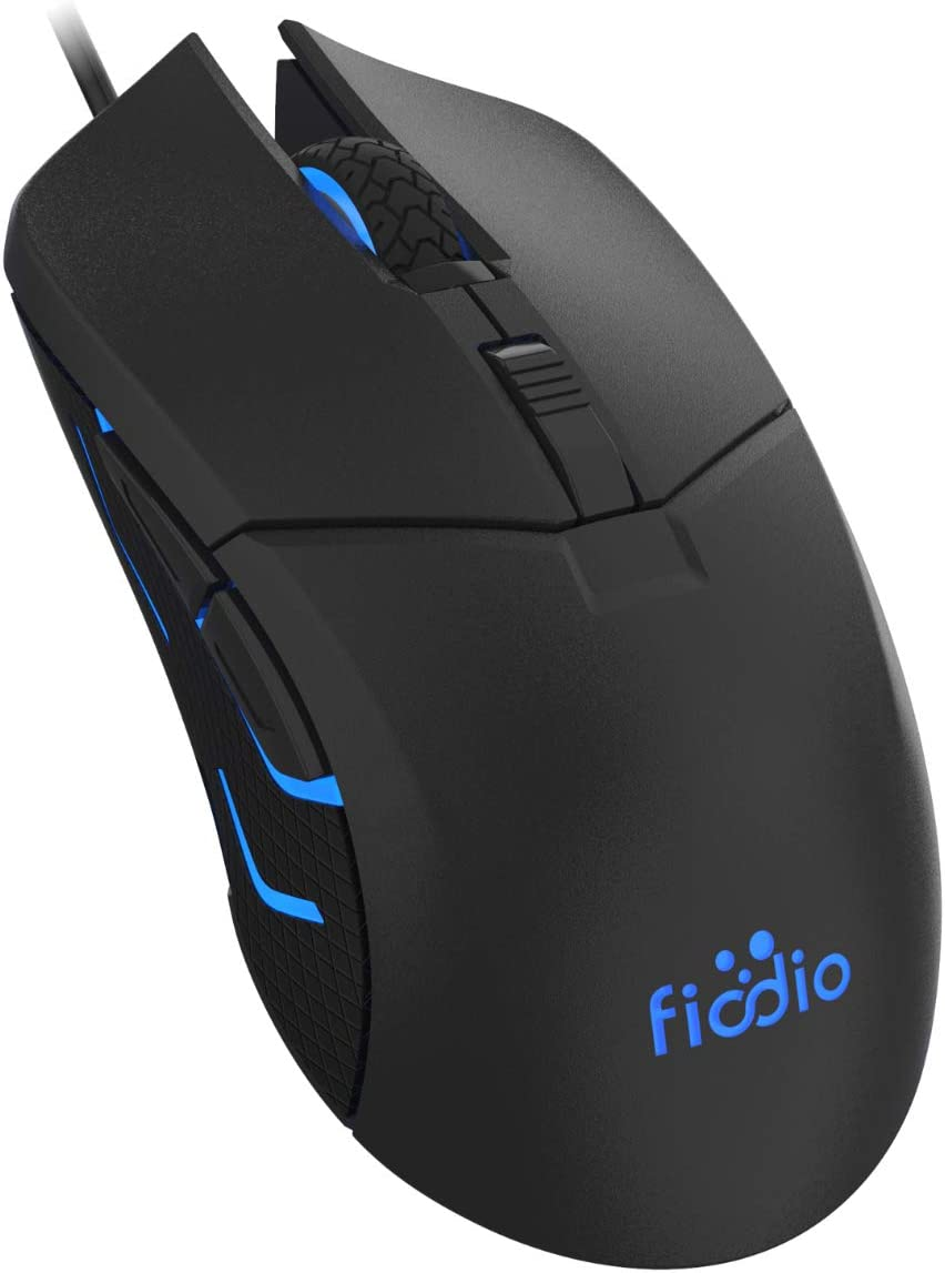 FIODIO Wired Gaming Mouse, 5500 DPI, Breathing Light, Ergonomic Game USB Computer Mice RGB Gamer Desktop Laptop PC Gaming Mouse, 7 Colors RGB Lighting, 6 Buttons for Windows 7/8 / 10, Black