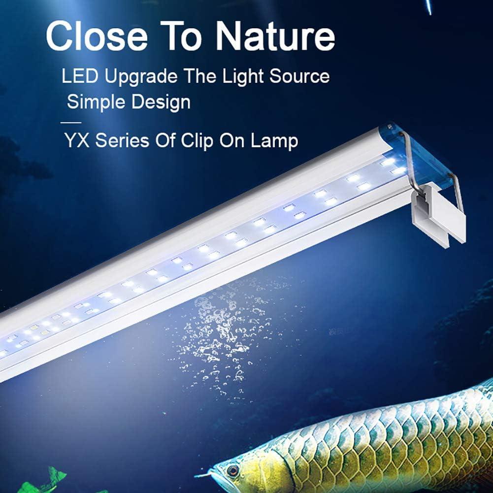 LED s/úper Delgado Iluminaci/ón de Acuario Luz de Planta acu/ática 18-48 cm Clip Impermeable Extensible en la l/ámpara para pecera
