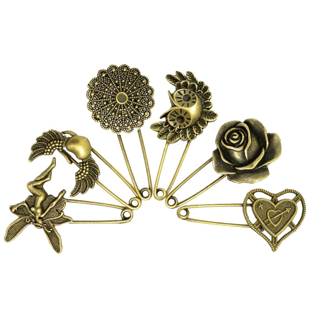e32431847 Amazon.com: LEFVTM Decorative Bronze Assorted Safety Pins Vintage Hijab  Pins Retro Brooches Pack of 6