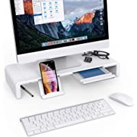 Klearlook Foldable Monitor Stand Built in Storage Drawer Tablet&Phone Stand Holder, Width Adjustable Desktop Monitor Screen Riser,Anti-Slip Monitor Mount for Computer/Printer/Laptops/TV - White