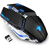 TENMOS T12 Wireless Gaming Mouse Rechargeable, 2.4G Silent Optical Wireless Computer Mice with Changeable LED Light Compatibl