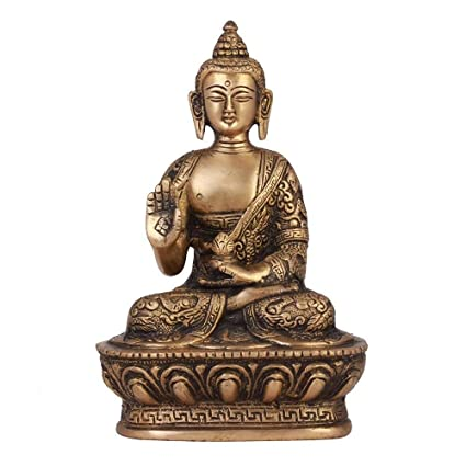 Brass Statue of Buddha Blessing with Sacred Kalash & Draped in Shawl, 1.1 Kg Height 7Inches, Width 4Inches