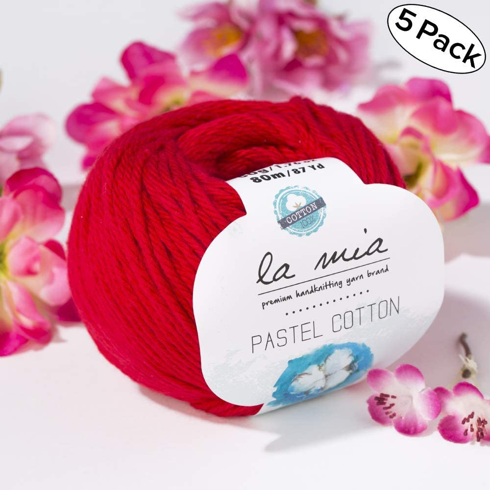 50g 5 Ball Lamia Pastel 100/% Cotton Total 8.8 Oz 80 m Aran Pastel Cotton Yarn Afghan Each 87 Yrds Worsted Pastel-Blue L054 - 1.76 oz Soft