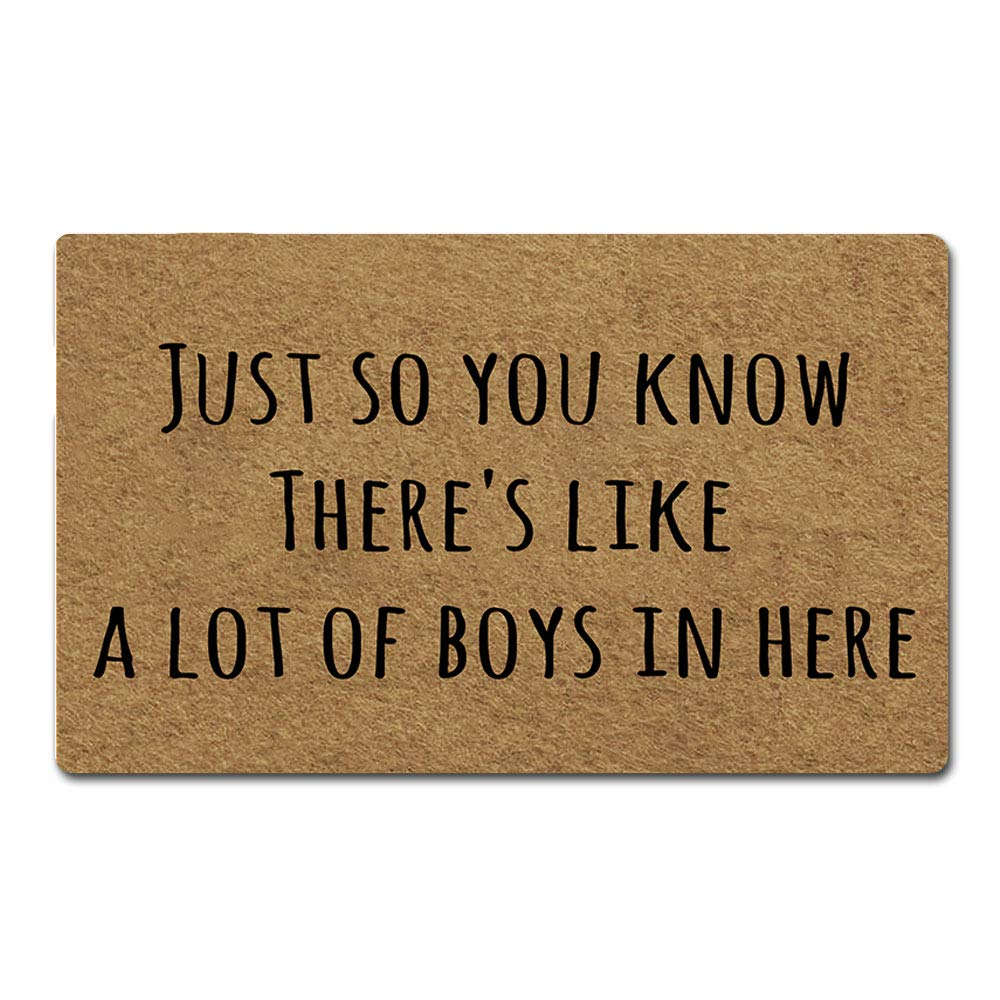 Artsbaba Welcome Mat Just So You Know There's Like A Lot of Boys in Here Door Mat Rubber Non-Slip Entrance Rug Floor Mat Balcony Mat Funny Home Decor Indoor Doormat 30 x 18 Inches, 3/16'' Thickness