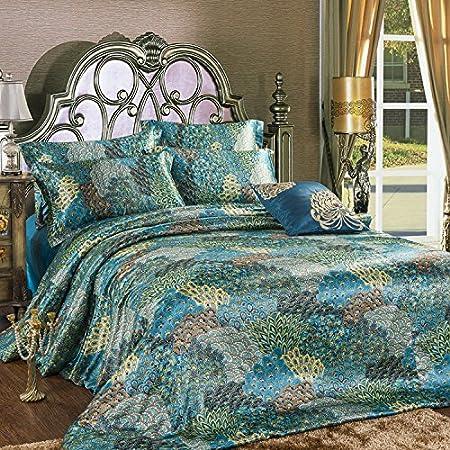 FADFAY Home Textile,Peacock Feather Bedding Set,Peacock Blue Bedding  Sets,Bohemian Duvet