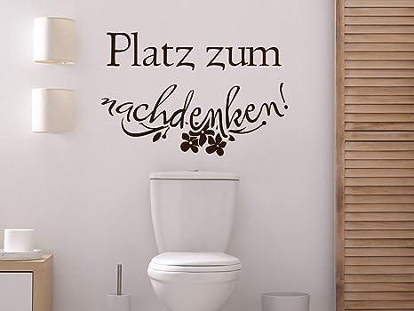 GRAZDesign Wandtattoo Badezimmer Spruch lustig, Platz zum nachdenken, Klo  Aufkleber / 76x50cm / 070 schwarz