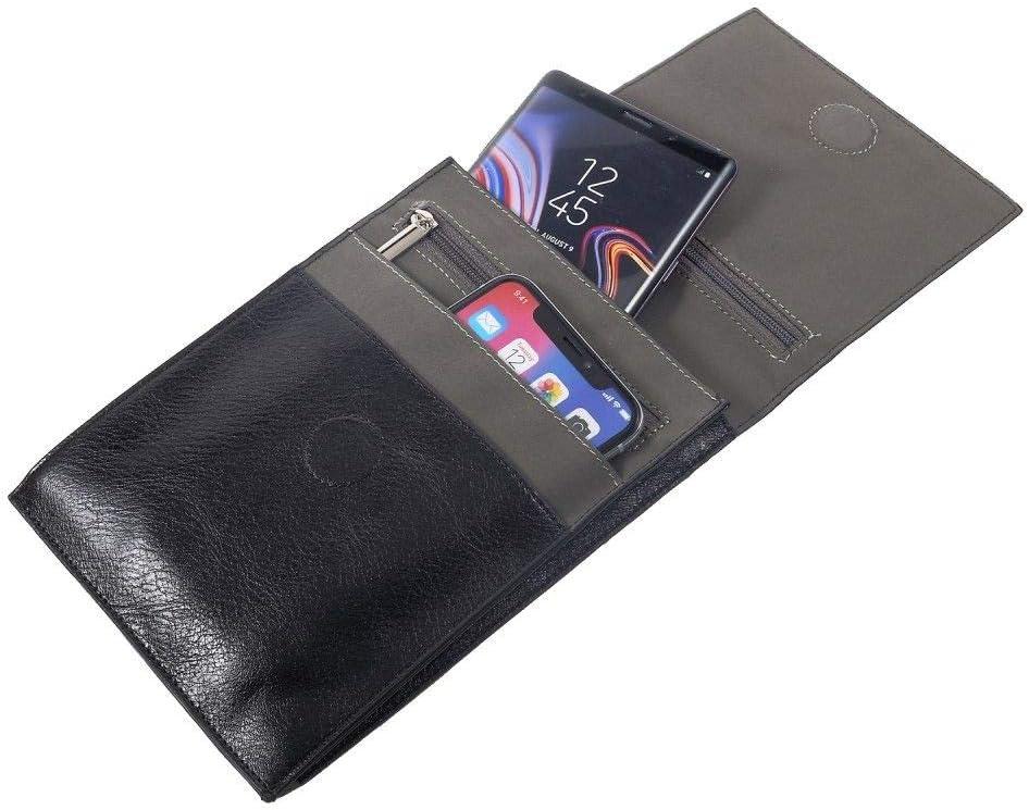 DFV mobile - Funda Tablet y Smartphone Bolso Bandolera con Cierre Magnetico y Cremalleras para XIAOMI MI4C, MI 4C - Negra