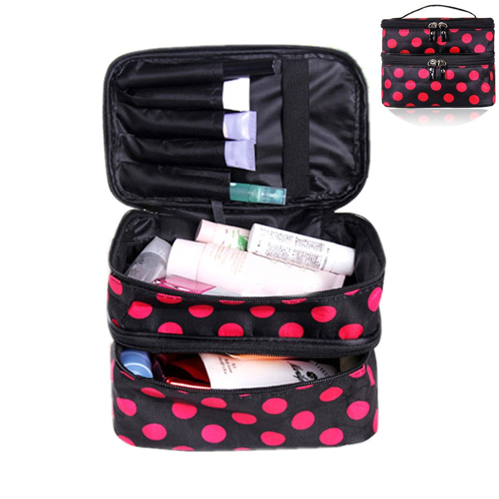Pevor Double Layer Toiletry Bag Large Capacity Makeup Bag for Travel Cosmetics Storage Handbag Rose Pink Dotted Ladies\' Cosmetics Collection Tools