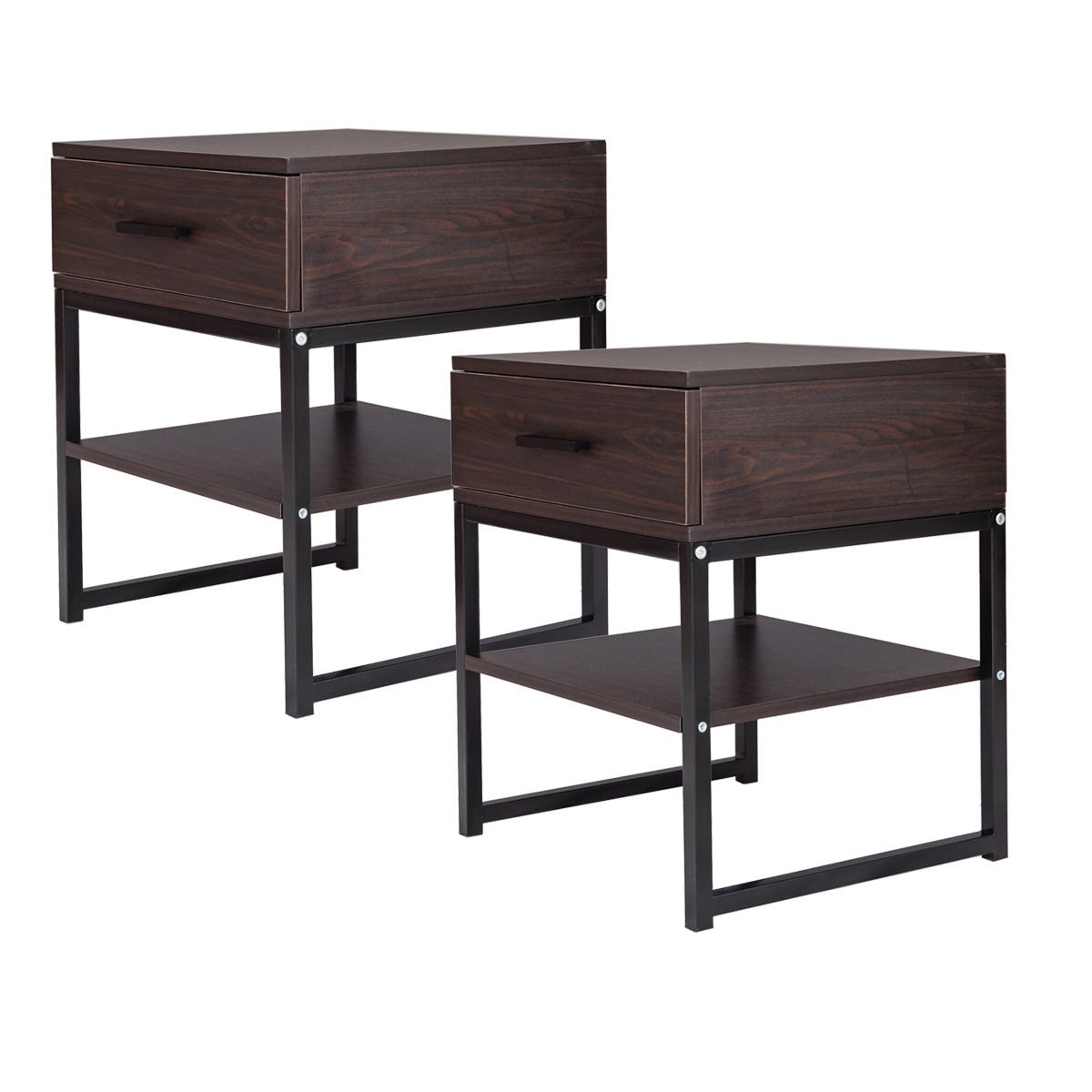 End Table Night Stand Table Bedroom Furniture Shelf Storage Drawer Display 2PCS