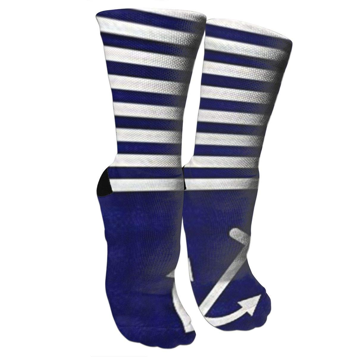 Navy Blue Love Anchor Nautical Compression Socks Unisex Printed Socks Crazy Patterned Fun Long Cotton Socks Over The Calf Tube 619Rm7X5-6L