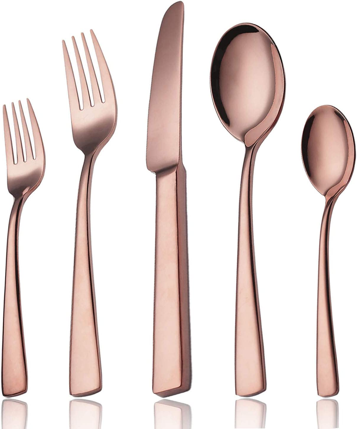 Silverware Set Rose Gold, 20 Pieces Flatware Stainless Steel Cutlery Utensils Dinnerware Kitchen with Forks Spoons Knifes Mirror Polished Dishwasher Safe Gift Box Service for 4 Copper