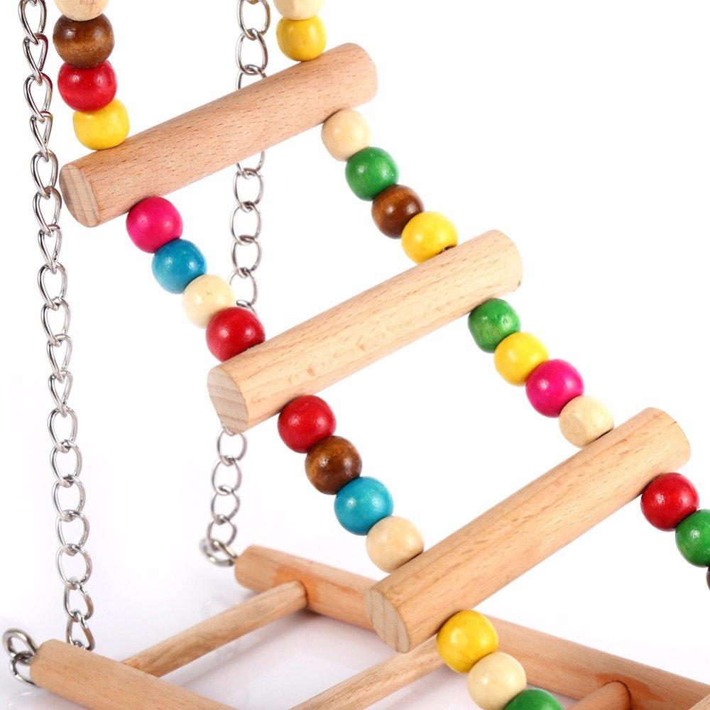 Hamiledyi Bird Swing For Parrot Parakeet Budgie Cockatiel Climbing Ladder Swinging Wood Hanging Toy Bird Toy Ladder Wooden Bridge Swings for Parrots Wooden Suspension Bridge by Hamiledyi (Image #4)