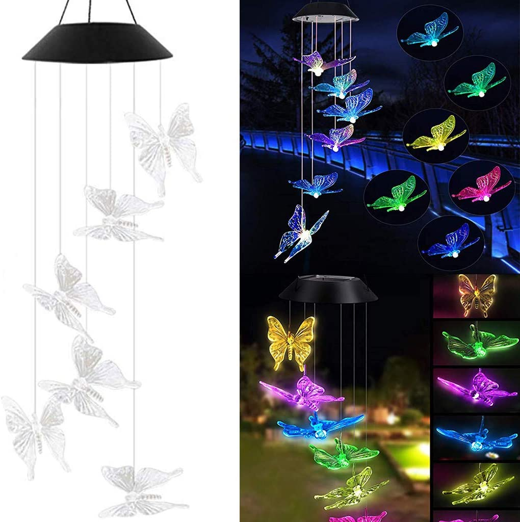 Tvoip Color Changing LED Solar Power Lamp Butterfly Wind Chimes Garden Decoration Yard Waterproof LED Light Lighting Hanging Decor (Butterfly) : Garden & Outdoor