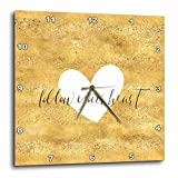 3dRose PS Inspiration - Image of Gold White Follow Your Heart - 10x10 Wall Clock (dpp_280715_1)