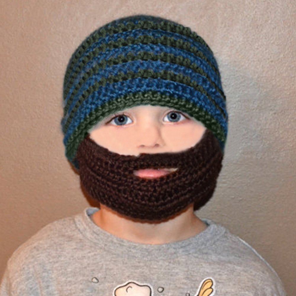 Baby Child Fashion Winter Warm Soft Knitting Wool Stripe Unisex Detachable Beard Hat Cap Color A Gosear