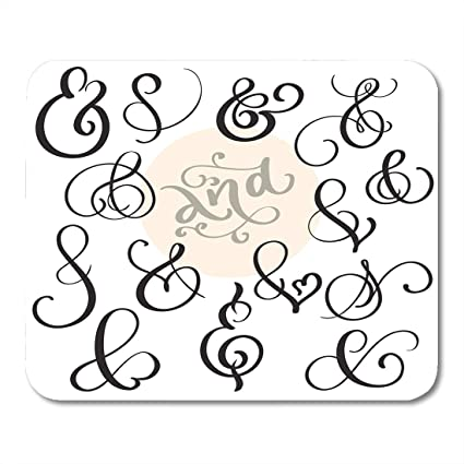d972a2604b3c Emvency Mouse Pads Board Black Symbol Vintage Sign and Ampersand on White  Calligraphy Lettering Advice Catchword