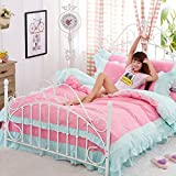 4pcs Princess Style Lycra Cotton Lace Bedding Sheet Set Duvet Cover Pillow Cases Twin Full Queen Size (Twin, Loving Pink)
