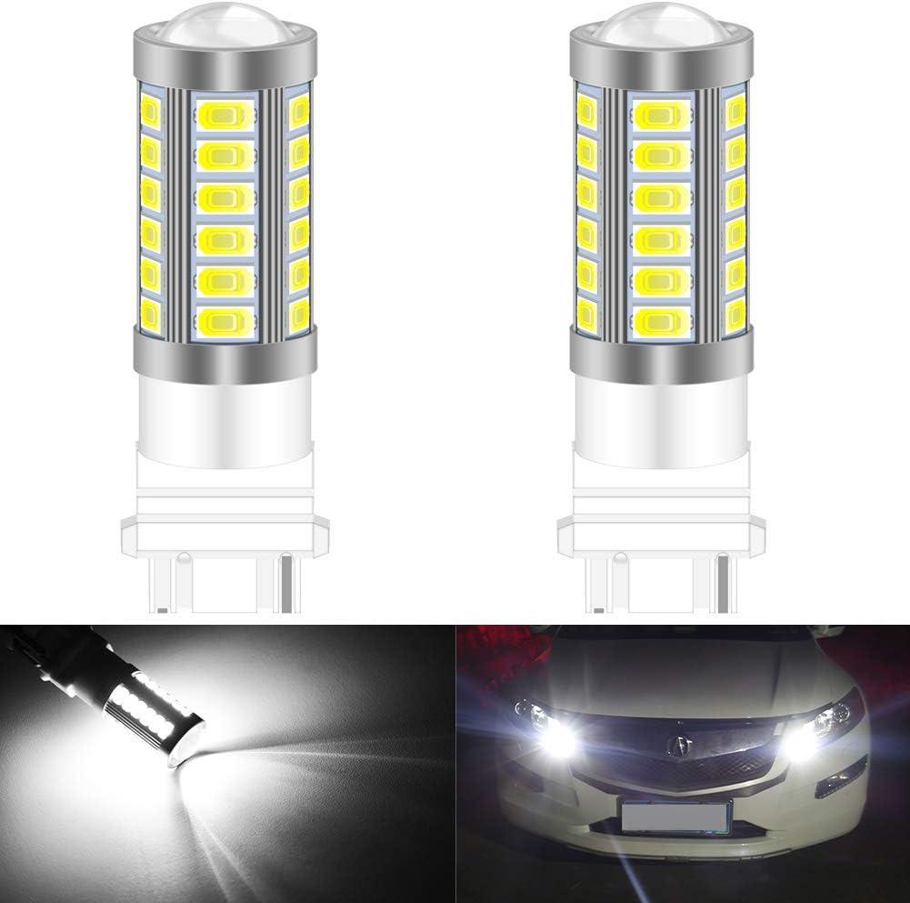 KATUR 2pcs 3156 3456 5630 33-SMD Blue 900 Lumens Super Bright LED Turn Tail Brake Stop Signal Light Lamp Bulb 12V 3.6W