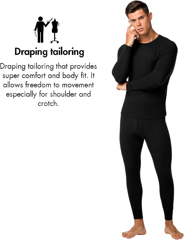 LAPASA Mens Thermal Underwear Long John Set Waffle Knit Base Layer Top and Bottom M60