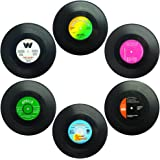 MISOSA 6-Piece Drink Coaster Set with Gift Box ,Useful Vinyl Record Retro Coasters -Tabletop Protection Prevents Furniture Damage