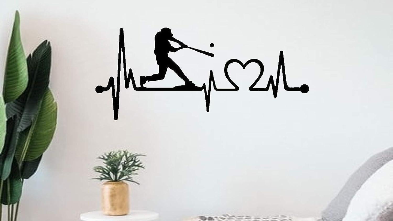 Baseball Batter Wall Decal Heartbeat Lifeline Sticker BG 511