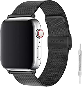 Stainless Steel Bracelet Metal Strap Compatible for Apple Watch Band 38mm 40mm Mesh Adjustable Sport Loop with Double Buckle Replacement Band for Iwatch Series 5/4/3/2 (Black, 38/40mm)…