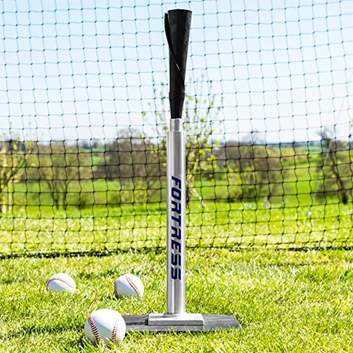 Fortress Telescopic Pro Baseball Batting Tee (Stainless Steel/Rubber) – The Best Baseball Training Aid for Big League Hitters [Net World Sports] by Fortress