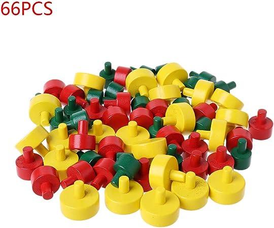 JOYKK 66 Piezas/Juego Piezas de peón de ajedrez para Juegos de Mesa Juego de Accesorios para Accesorios Regalos - Amarillo + Rojo + Verde: Amazon.es: Hogar