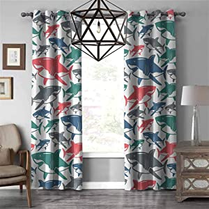 Sea Animal Decor Simple Romantic Curtain Mix of Colorful Bull Shark Family Pattern Masters of Survival Kids Nursery Energy Efficient Grommet Curtain Panel W96 X L108 inch