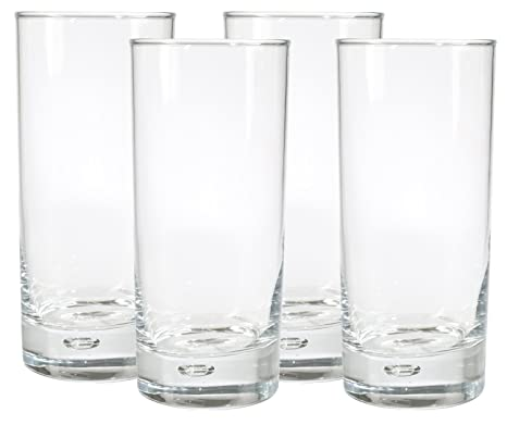 13dafa33f51 Image Unavailable. Image not available for. Color  Home Essentials Red  Series 17 Oz. Bubble-bottomed Round Cut Highball Drinking Glasses