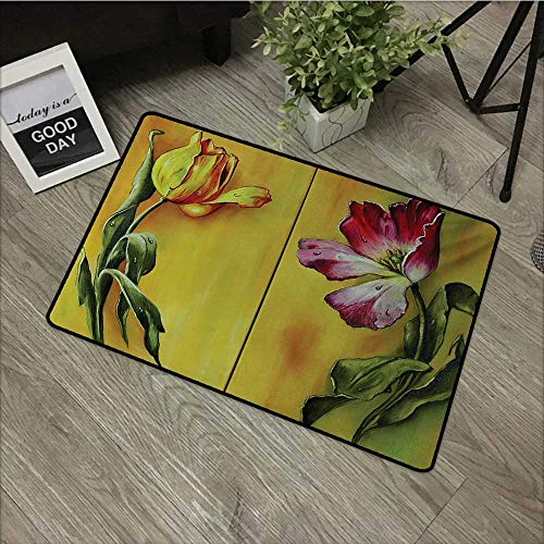 (Moses Whitehead Bathroom Entry Rugs Country,Painting of Curving Tulips Romantic Dramatic Blooming Flower Retro Art Print,Pink Yellow Green,for Indoor/Outdoor/Front Door/Shower Bathroom 35