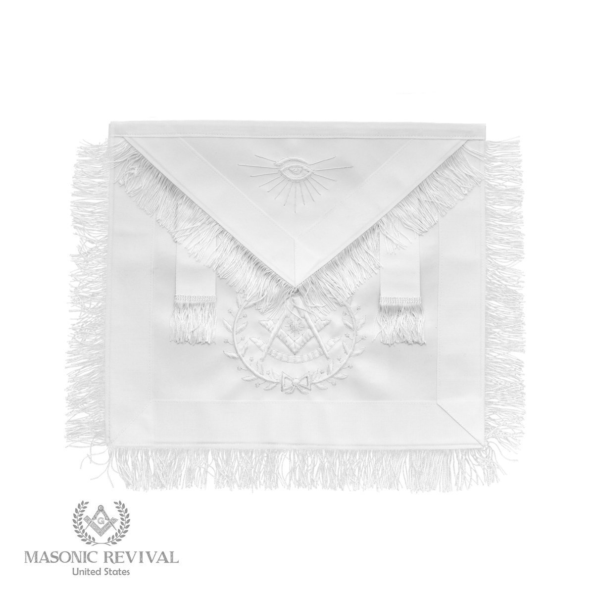 Bianco Past Master Wreathホワイトエプロンby Masonic Revival   B01MUUEY4S