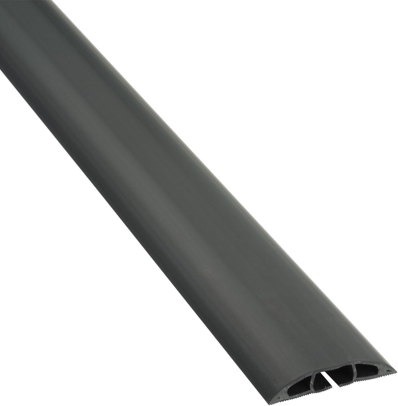 D-Line CC-1 | Canaleta pasacables Cavidad x 60 mm y 1,8 m en color negro | Protector de cables para suelo para el tránsito ligero de personas, 1,8m