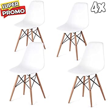 Set Eiffel Stühle Design Weiß 4 Bakaji Polypropylen Replica Dsw vNnO80mw