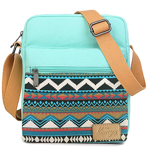 Girls Purse Striped Crossbody Bag Set Canvas Small Cross Body Bags for Women Organizer with Matching Coin Purse for Traveling Xmas Gift (Teal White)