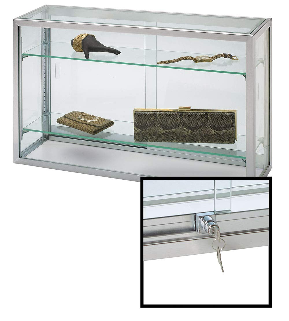 SSWBasics Countertop Display Case - Upright Glass - 18 H x 8 D x 30 L (Lock Included) Store Supply Warehouse