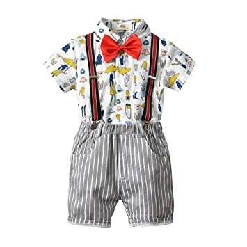 e90e7b6b5020 Kids Baby Boys Gentleman Set Short Sleeves Print Bowtie Shirt+Strip  Suspenders