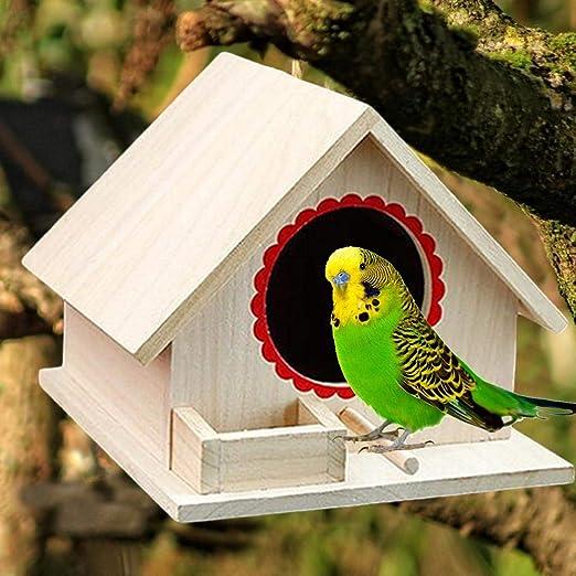 Kitabetty Pajarera de Madera al Aire Libre, Loro a Prueba de Humedad, pájaros pequeños, Nido, casa de pájaros, Jaula de pájaros, decoración para jardín Exterior, Ventana, balcón: Amazon.es: Productos para mascotas