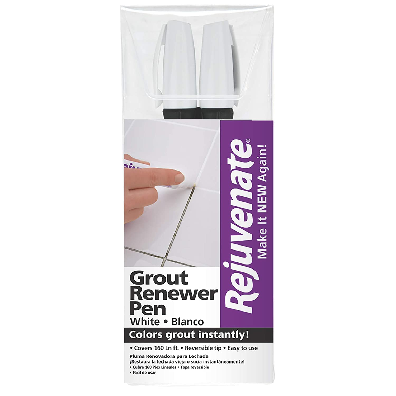 Rejuvenate White Grout Restorer Marker Pens – Restore and Renew Dingy Stained Grout In Minutes – 2 Pack