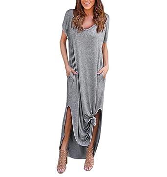 new products 76280 55a7f ZEZKT Einfache T-Shirt Kleid, Hippie Boho Damen Sommer ...