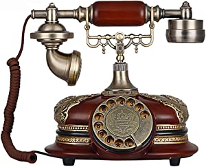 TelPal Retro Vintage Antique Style Rotary Dial Button Desk Telephone Phone Home Living Room Decor