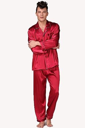 Pijama De Seda Clásico De Los Hombres Negro Sudadera Estilo Conjunto De Color Sólido De La