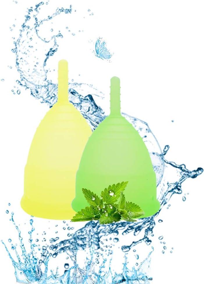 SPEQUIX - Juego de 2 vasos menstruales reutilizables para mujer con 1 taza esterilizadora y 1 cepillo de limpieza