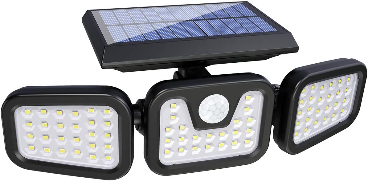 Solar Lights Outdoor with Motion Sensor, 3 Heads Security Lights Solar Powered, 74LED Flood Lights Motion Detected Spotlights 360 Rotatable IP65 Waterproof for Porch Garage Yard Entryways Patio-1PCS