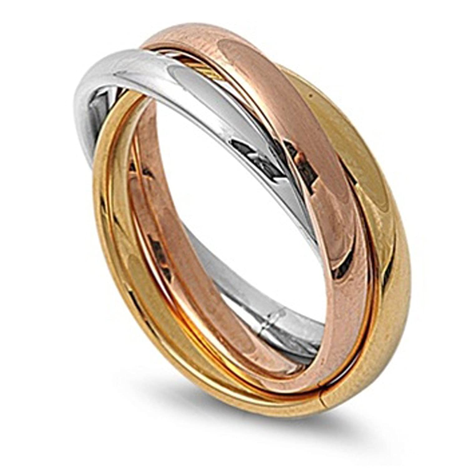 bar goldclear kors product in rings tri jewelry pink ring pave open gallery rose stack lyst michael normal