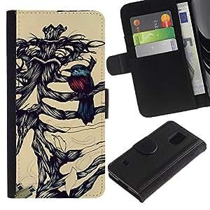 Billetera de Cuero Caso Titular de la tarjeta Carcasa Funda para Samsung Galaxy S5 V SM-G900 / Robin Bird Skeleton Brown Black / STRONG