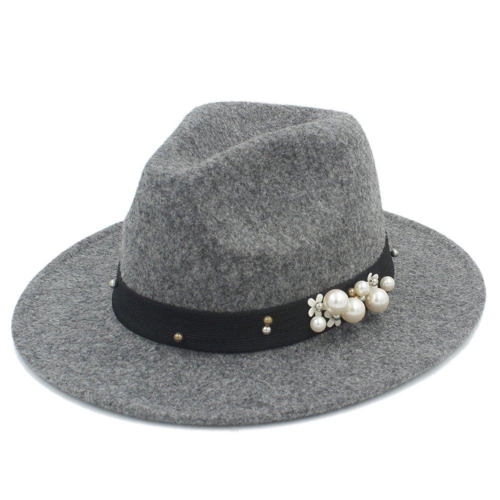 Hong Sombrero del Jazz de la Lana de la Moda 100% para el Sombrero de Fedora del Invierno del otoño de Las Mujeres de los Hombres del Caballero para los Sombreros Elegantes del ala Ancha de Laday !