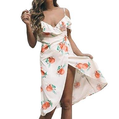 Longra Sommerkleider Damen Lemon Print Maxi Kleid Off Shoulder Abendkleid  Strandkleid Party Schulter Kleider Kurzarm Wickelkleider d66ac9fa1c